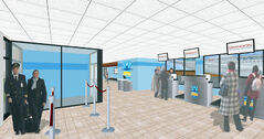 A conceptual drawing shows the interior of a revamped terminal building at the Brandon Municipal Airport.