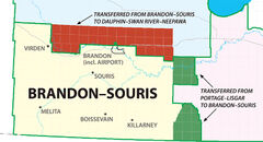 Due to redistribution, Brandon-Souris will lose a portion of its northeast boundary while inheriting areas to the east that were previously in the Portage-Lisgar riding. Carberry, Douglas, Rivers and Forrest to the north will be out of Brandon-Souris, while Pilot Mound, Crystal City, Clearwater and Holland will become part of the riding.