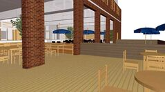 A digital rendering of an outdoor patio facing Princess Avenue is part of Bowerbird Holdings' proposal submitted to the city for the vacant fire hall downtown.