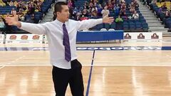 BU men's basketball coach Gil Cheung hit a mid-court shot that has gone viral on the Internet.
