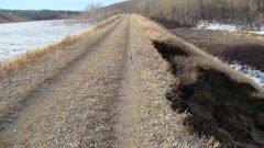 This embankment is holding back water on a tributary of the Birdtail Creek is failing, the province said Sunday. When it fails, it will result in a surge of water that will affect communities downstream, including the Waywayseecappo First Nation, the town of Birtle and the Birdtail Sioux Nation.