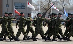 Soldiers representing the the various units deployed during the Canadian Forces' Afghanistan missions marched on parade at CFB Shilo during Friday's National Day of Honour.