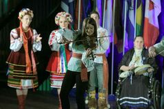 Performers from four pavilions — First Nations, Ireland, Métis and Ukraine — perform together at the opening ceremonies for the 10th annual Lieutenant Governor's Winter Festival on Thursday evening at city hall.