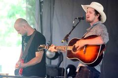 Winnipeg's Del Barber belts out a tune on the MTS Stage at Dauphin's Countryfest early Friday evening.