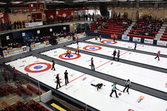 Eight rinks in action on the opening day of the provincial Scotties Tournament of Hearts at Tundra Oil and Gas Place in Virden on Wednesdaty.