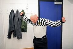 Referee Gary Ward suits up before reffing a game at the Sportsplex on Thursday evening. Ward has been reffing for eight years.