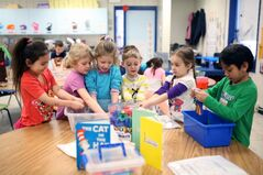 Carmen Hunter, Jaylyn Penner, Sofya Tymoshenko, Lachlan Sprott, Natalya Corbey and Junior Palma Nunez play in Carole McCurry's full-day kindergarten class at George Fitton School.