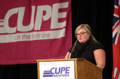 Kelly Moist, CUPE Manitoba president, addresses delegates at the CUPE Manitoba convention on Tuesday.