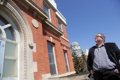 Assiniboine Community College president Mark Frison leads a tour of the North Hill campus' Parkland building. The college is making plans to develop the main building at the former Brandon Mental Health Centre site.