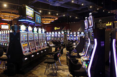 Video lottery terminals inside the Sand Hills Casino.