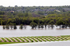Floodwater obscures Grand Valley Road and most of the crops in the eastern fields at the Brandon Research Centre west of 18th Street on Friday afternoon.