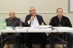 Project critics Dennis Crowe, lawyer Chuck Chappell and Lloyd Carey were a united front against the proposed recreation facility, argued the project is not financially viable.