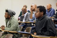 Kimani Peter, foreground, a student organizer at OCAD University in Toronto, said the 2017 conference of the Black Canadian Studies Association, held over the weekend at Brandon University, gave him a wide variety of perspectives on the history of black Canadians and the current activism efforts underway across the country.