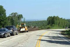"Construction within ""Km 49"" along Highway 10 in Riding Mountain National Park involved realigning that section of the highway and has now been completed. This photo was taken July 30."
