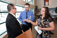 Mayoral candidate Rick Chest, left, is interviewed by Sun managing editor James O'Connor and Sun chief political reporter Jillian Austin at the Riverbank Discovery Centre on Friday after his announcement.