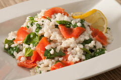 Spinach Smoked Salmon Barley Risotto