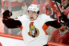 Former Wheat King captain Mark Stone scores for Ottawa on Jan. 4.