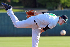 Brandon Cloverleafs' pitcher Zach Steckler lets fly during Tuesday's game with the Neepawa Farmers at Andrews Field. Brandon won 7-4.