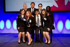 The SIFE Brandon team from BU — Brittany Oliver, Candace Claeys, Siddharth Santdasani, Alysha Ross, Tyler Lane, Sally Amoabeng, and our faculty advisor Dave Taylor — made it to the semi-finals in the national competition held last month in Calgary.