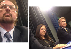 A composite photo showing me, Sun civic affairs reporter Jillian Austin and CKLQ news editor Clay Young.