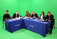 Brandon School Division trustee Kevan Sumner, Assiniboine Community College director Steve Horne, Mayor Shari Decter Hirst, Brandon Chamber of Commerce vice-president Todd Birkhan, Brandon University political science Prof. Kelly Saunders and BU vice-president, administration and finance Scott Lamont review the 2014 provincial budget prior to discussing it at the Westman Communications Group television studios on Park Avenue on Thursday.