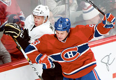 Brandonite Ryan White delivers a hit for the Habs on Nov. 23.
