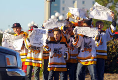 Members of the Peewee AA Wheat Kings hockey team show their spirit at the tailgate party before the season-opening WHL matchup on  Friday evening at the Keystone Centre.