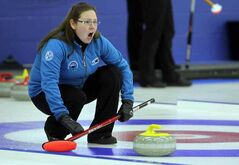 Kristen Phillips shouts to her teammates during the Brandon Ladies Bonspiel final at the Brandon Curling Club on Sunday afternoon.