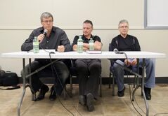 Project supporters, from left, Doug Morningstar, Tony Franklin and Bob Caldwell spoke in favour of the joint curling club/community hall and the money needed to afford it.