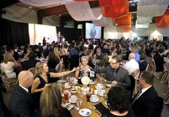 Attendees settle in at the start of the 134th annual Brandon Chamber of Commerce Annual Dinner and Awards Gala at the Keystone Centre's Manitoba Room on Thursday evening.