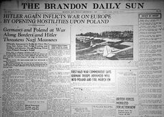The front page of the Brandon Daily Sun on Sept. 1, 1939, the day that German invaded Poland to start the war.