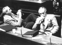 Former NDP cabinet minister Wilson Parasiuk (left) and Pawley.