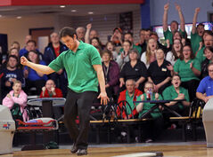 Garry Hamm celebrates while on his way to winning the provincial 5-pin bowling men's singles championship at Thunderbird Bowl on Saturday afternoon. Hamm defeated Darren Maxwell of Winnipeg to win the provincial title.