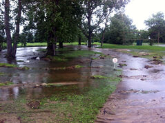 The storm made a mess of the area in front of the fifth-hole tee box at the Glen Lea Golf Course, but the Brandon-area course is ready to reopen today.