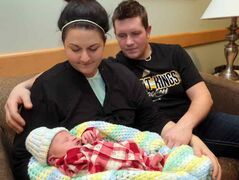 Parents Kendra Carnegie and Jonathon Naturkach welcomed baby Quinn Jonathon Naturkach into the world at the Brandon Regional Health Centre on New Year's Day. Seven pounds, 13 ounces, Quinn was the first baby born at the BRHC in 2013.