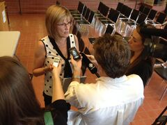 Brandon mayor Shari Decter Hirst answers questions about the city's flood preparation efforts.