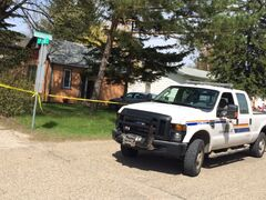 RCMP investigate a suspicious death across from the elementary and high school in MacGregor on Monday afternoon.