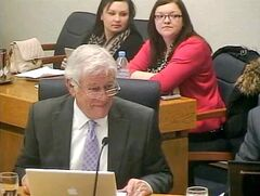 "Coun. Jim McCrae (Meadows) admitting to a ""pretty small"" conflict of interest with the Lieutenant Governor's Winter Festival as he makes a motion at Monday's council meeting."