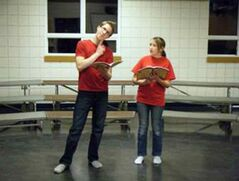 "Aidan Heaman, left, and Laurel Eslinger rehearse their lines for ""Willy Wonka Jr.,"" which will be performed at Virden's Aud Theatre at 7 p.m. on Feb. 12 and Feb. 13."