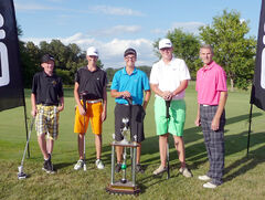 Professional Gary Poole, right, is joined by Westman Junior Tour champions, from left to right, Ben McCartney, Sebastian Streu, Braden Clement and Kolby Day.