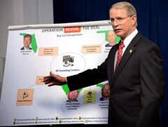Jacksonville (FL) Sheriff John Rutherford describes a chart showing the key co-conspirators in the operation