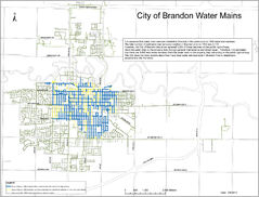 This map, provided by the City of Brandon, shows areas where pre-1950 water connections exist, which may contaminate a home's drinking water with lead.
