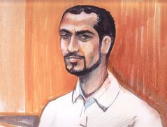 Omar Khadr appears in an Edmonton courtroom, Sept. 23, 2013 in an artist's sketch. The lawyer for former Guantanamo Bay inmate Omar Khadr says his client is to be transferred to a federal medium-security prison in central Alberta. THE CANADIAN PRESS/Amanda McRoberts