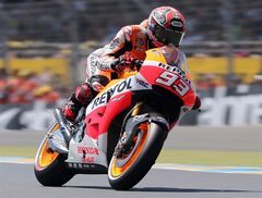 A Repsol Honda Team driver steers in qualifying in Le Mans, May 17, 2014. THE CANADIAN PRESS/AP, David Vincent