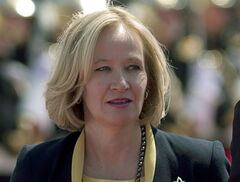 Laureen Harper is pictured in Benouville, France on June 6, 2014 in . THE CANADIAN PRESS/Adrian Wyld