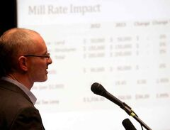 City treasurer Dean Hammond speaks during Wednesday's budget consultation.
