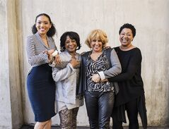 FILE - In this Dec. 31, 2013 file photo, from left, singers Judith Hill, Merry Clayton, Darlene Love and Lisa Fischer, featured in the Academy Award-winning documentary film