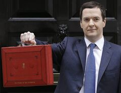 FILE- In this file photo dated Wednesday, March 19, 2014, Britain's Chancellor George Osborne poses for the media with the traditional red dispatch box outside his official residence at 11 Downing Street in London, as he departs to deliver his annual budget speech to the House of Commons. Britain's Treasury chief George Osborne on Thursday June 12, 2014, is widely expected to propose new criminal sanctions and tougher oversight to protect the financial markets from manipulation. (AP Photo/Kirsty Wigglesworth, FILE)