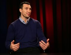 Heavyweight boxer Wladimir Klitschko speaks during an interview at the Associated Press in New York, Monday, Feb. 3, 2014. Klitschko will face Alex Leapai, a native of Samoa who lives in Australia, on April 26, 2014 in Oberhausen, Germany. (AP Photo/Peter Morgan)