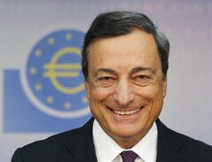 President of European Central Bank Mario Draghi smiles prior to a news conference in Frankfurt, Germany, Thursday, Sept. 4, 2014. THE CANADIAN PRESS/AP, Michael Probst